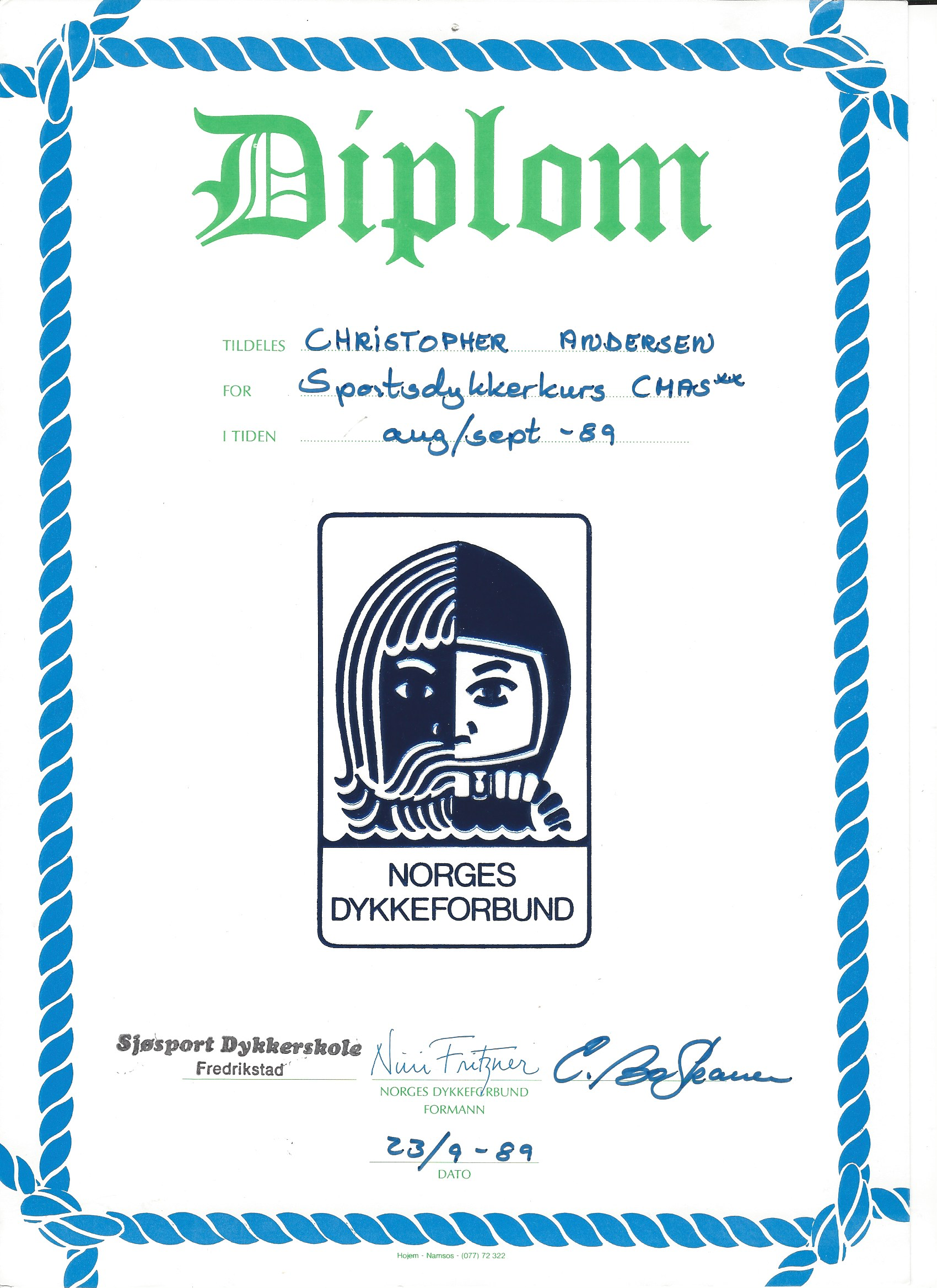 diploma-sjøsport-dykkerskole-cmas-two-star